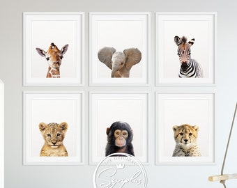 Safari Nursery Decor, Baby Animals Set 6, Lion Zebra Elephant Giraffe, Nursery Prints Modern Animal Art, Safari Animals, Kids Room Printable