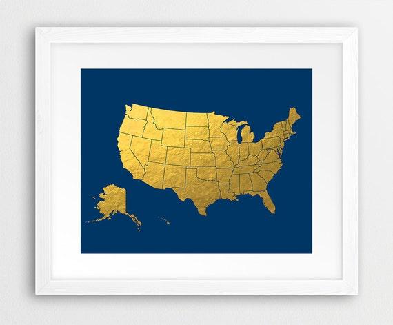 Usa Map Print United States Map Wall Art Usa Map Silhouette Etsy