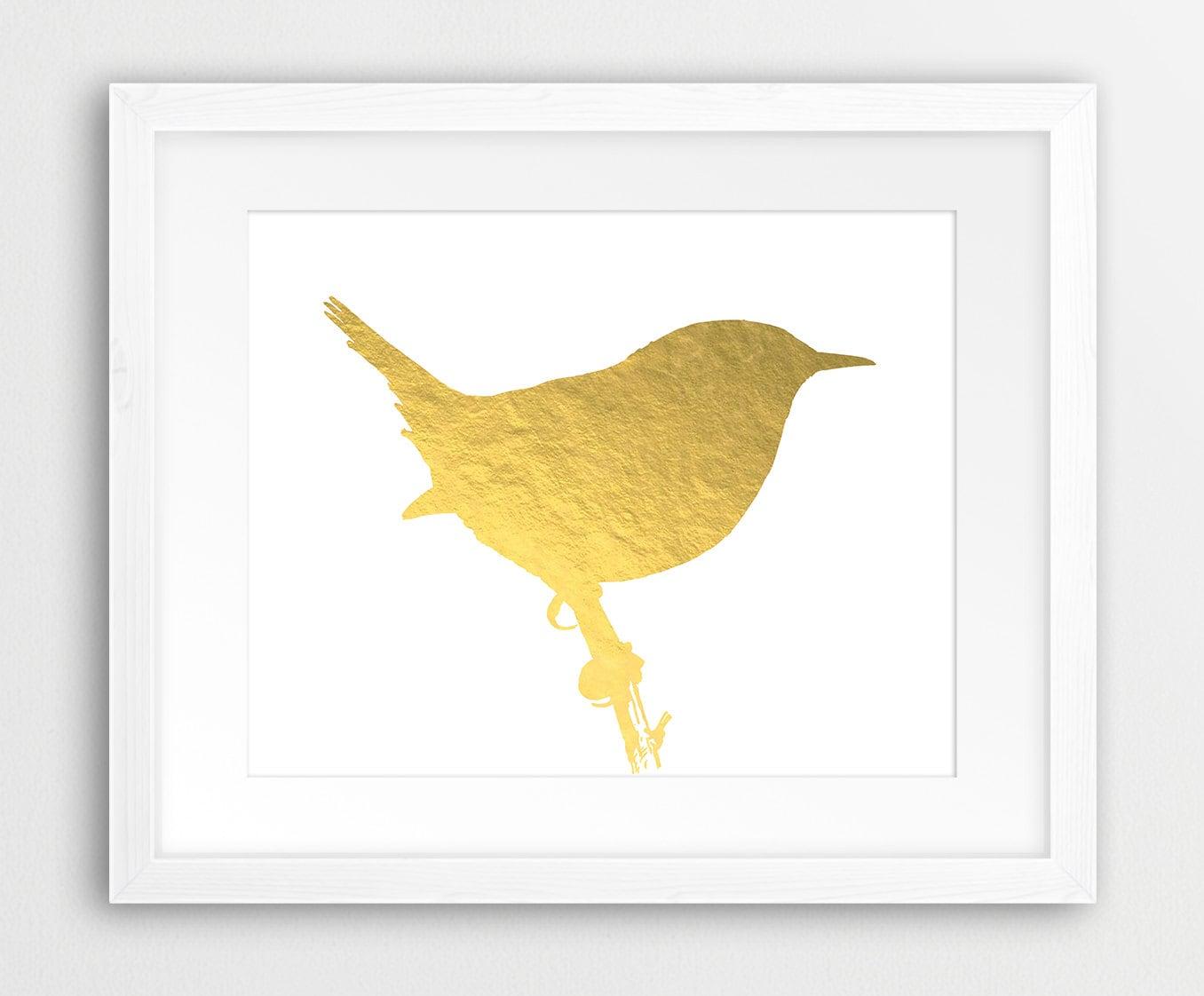 Gold Bird Print Bird Silhouette Gold Foil Texture Gold Bird   Etsy