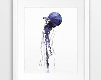 Jellyfish Watercolor Print, Jellyfish Wall Art, Violet Blue Nautical Art, Sea Summer Print, Modern Wall Art, Digital Printable Art