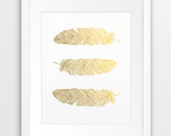 Gold Feathers, Feather Gold Foil Texture, Feather Print, Printable Art, Gold Prints, Modern Wall Art, Nursery, Home Decor, Instant Download