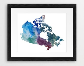 Canada Map, Canada Watercolor Map, Canada Map Print, Canada Wall Art, Canada Watercolor Blue Purple Green, Watercolor Map Art, Printable Art