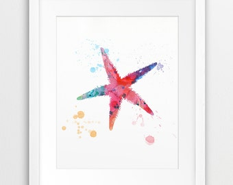 Starfish Watercolor Print, Starfish Silhouette Colorful Pink Orange Cyan, Nautical, Sea Summer Modern Wall Art, Nursery Decor, Printable Art