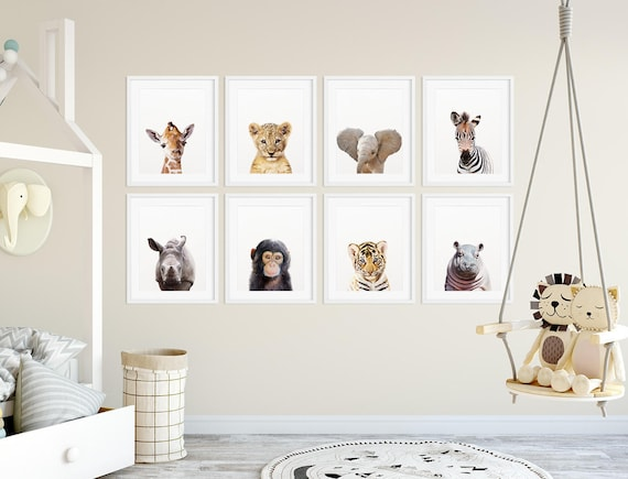 Safari Nursery Decor Safari Animal Prints Baby Animals Set