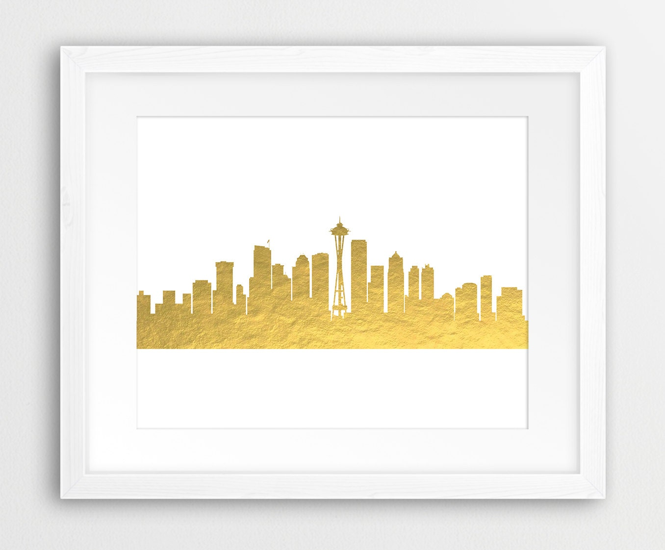 Seattle Skyline Printable File Seattle Cityscape Gold Foil | Etsy