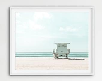 Coastal Print, Ocean Print, Beach Photography, Ocean Photo, Beach Print, Lifeguard Stand, California Wall Art, Coastal Decor, Printable Art