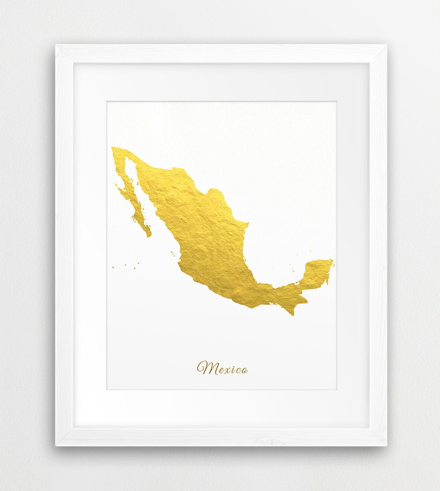 Mexico Map Print Mexico Gold Foil Texture Mexico Wall Art | Etsy