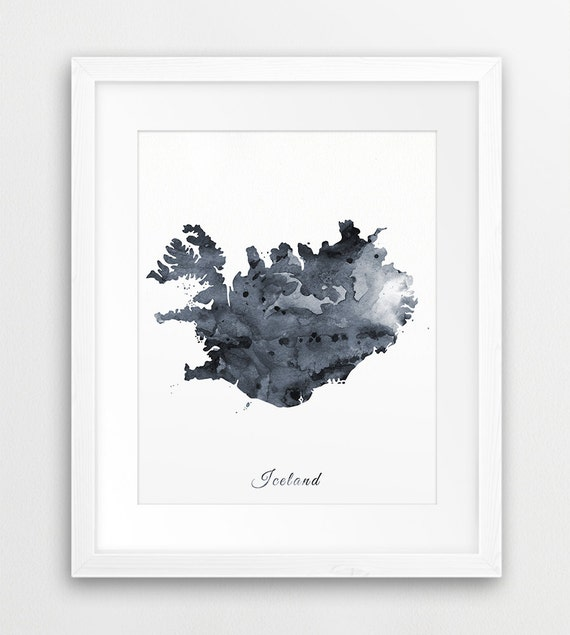 photo relating to Printable Map of Iceland called Iceland Map Printable Artwork, Iceland Watercolor Gray Black White, Iceland Watercolor Print, Iceland Map Wall Artwork, Push Print, Electronic Print