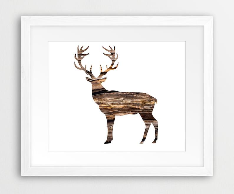 photograph regarding Printable Antlers identified as Deer Antlers Printable Document, Deer Silhouette Rustic Texture Brown, Woodland Pets - Innovative Wall Artwork, Nursery Residence Decor Electronic Print