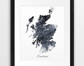 Scotland Map Print, Scotland Watercolor Map, Scotland Art Grey Black White, Scotland UK England Map Wall Art, Modern, Travel, Printable Art