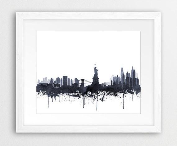 New York City Print New York Wall Art New York Skyline | Etsy