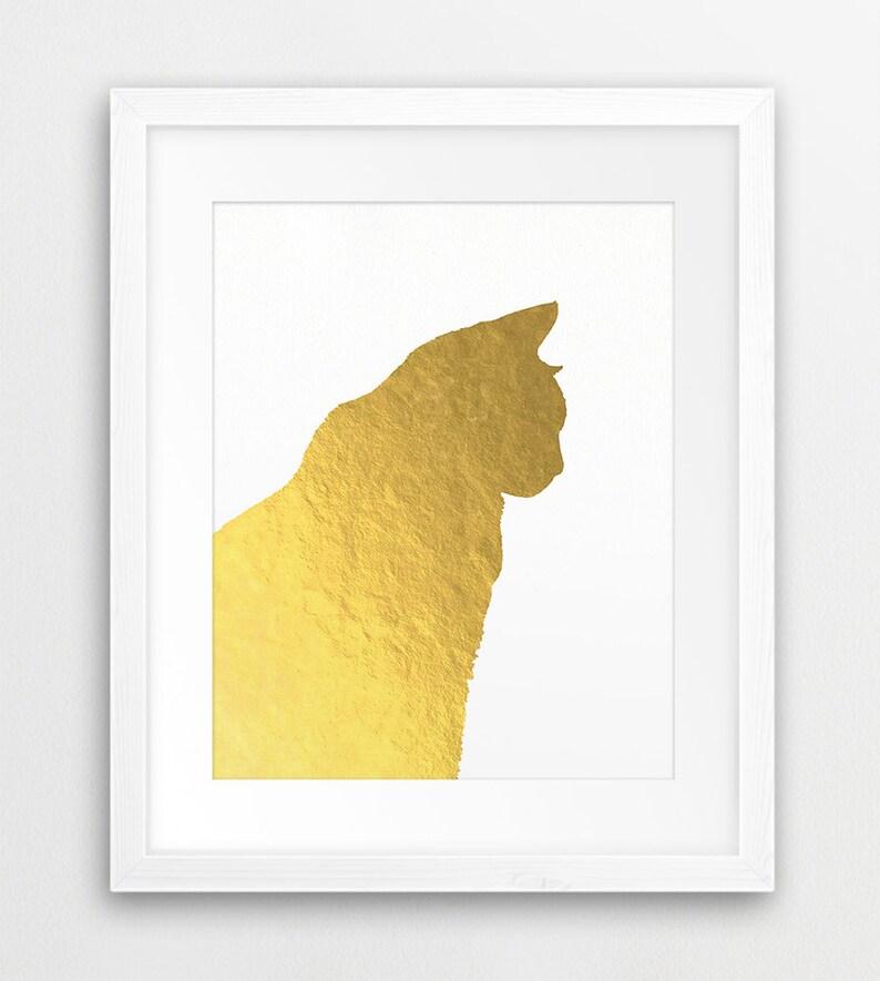 photo regarding Silhouette Printable Gold Foil named Cat Printable Artwork, Cat Silhouette Gold Foil Texture, Gold Pets Print, Gold Cat Wall Artwork, Nursery Decor, Electronic Print, Instantaneous Obtain