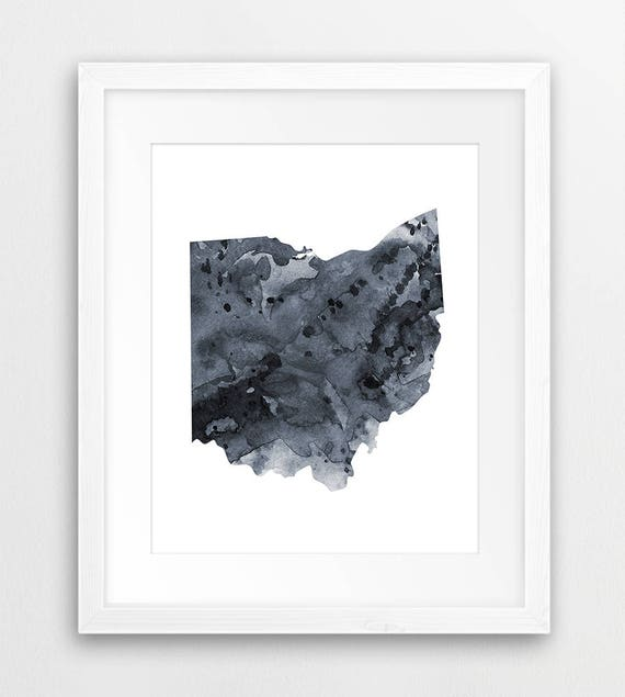 Ohio State Map Print, US State Ohio Silhouette Watercolor Grey Black &  White, Modern Wall Art, Home Office Decor, Digital Printable Art