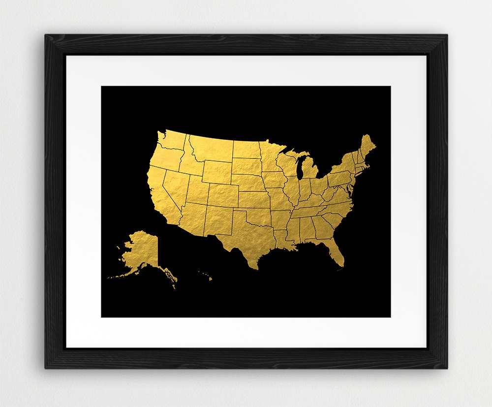 USA Map Print United States Silhouette Gold & Black USA Map | Etsy