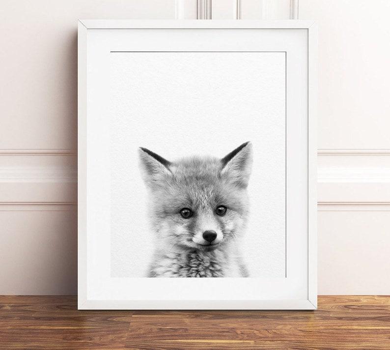 Baby Fox Print Nursery Decor Baby Animals Print Woodland image 0