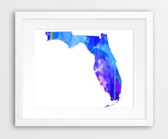 Purple State Map.Florida State Print Florida Map Wall Art Usa State Florida Etsy
