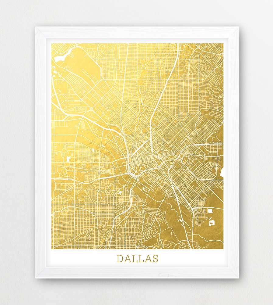 Dallas Map Print Dallas Texas City Street Map Urban Map | Etsy