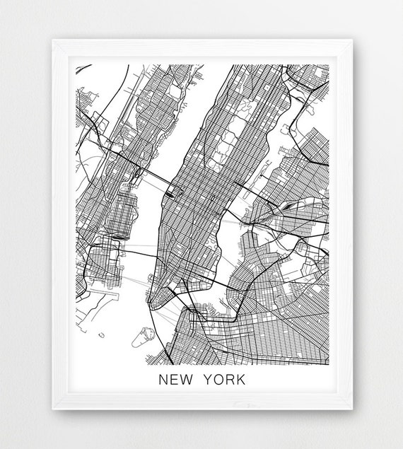New York Map Black And White.New York Map Print Nyc Map Manhattan Map Poster New York Etsy