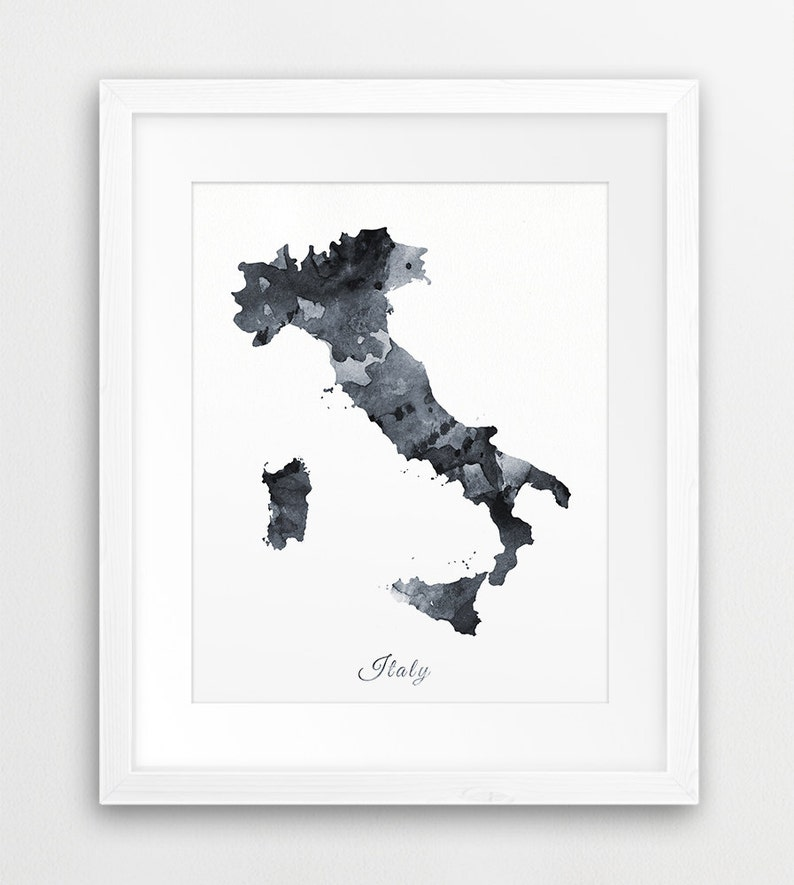 Black And White Map Of Italy.Italy Map Print Italy Watercolor Grey Black White Italy Watercolor Print Italy Map Wall Art Black And White Decor Digital Printable Art