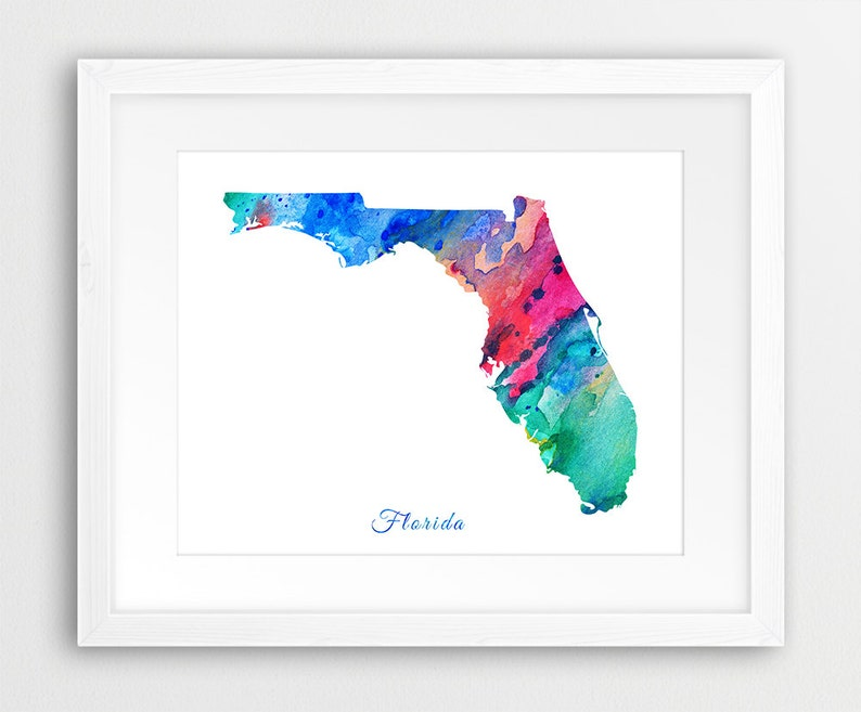 State Florida Map.Florida Map Watercolor Print Usa State Florida Silhouette Watercolor Green Blue Red Pink Modern Wall Art Home Office Decor Printable Art