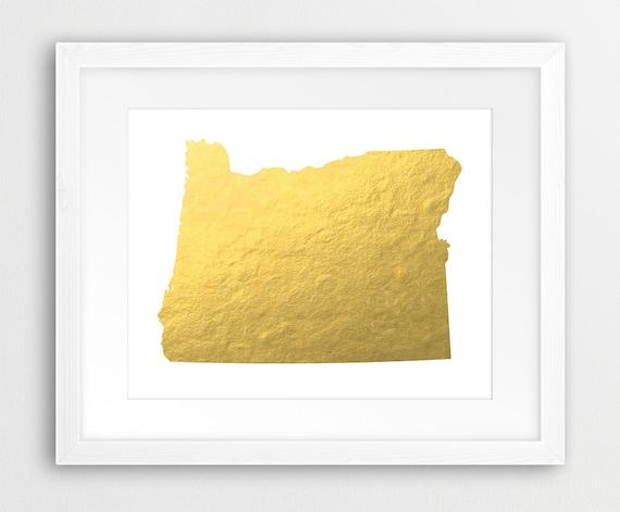 Printable Oregon Map.Oregon State Map Printable Art Usa Oregon Map Gold Foil Etsy