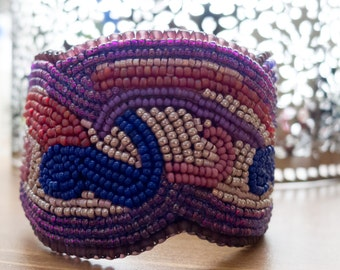 Bead Embroidered Art Nouveau inspired cuff bracelet