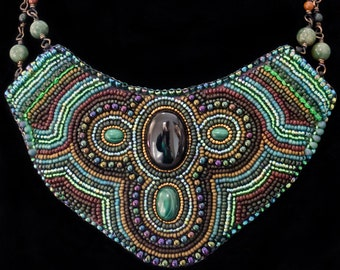 Bead Embroidered Onyx and Malachite Statement Necklace, Ooak statement necklace,