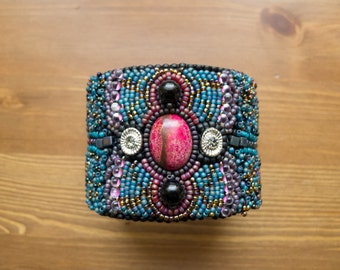 Bead Embroidered Jasper and Onyx Cuff Bracelet