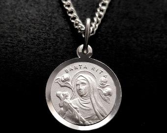 St Rita medal necklace pendant, Santa Rita charm, Silver tone