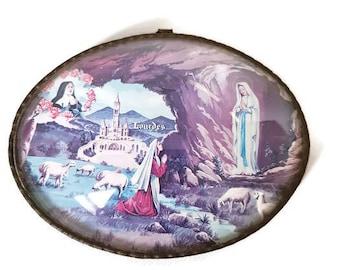 Vintage Lourdes Apparition Frame, Bubble Glass Frame Souvenir from Lourdes, Christian Wall Decor, Grotto Apparition, Religious Wall Decor