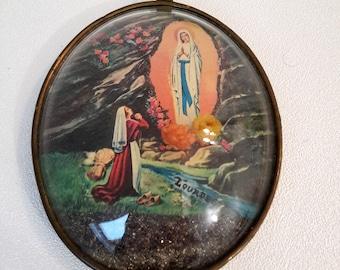 "small french vintage convex glass frame ""Lourdes"", french souvenir"