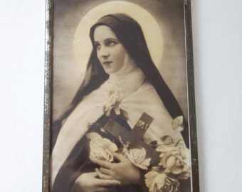 """french vintage glass frame """"St Therese of Lisieux"""", french souvenir"""