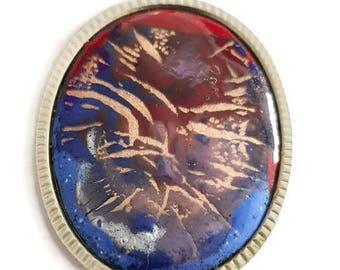 vintage french enamel pendant, handmade enamel on copper, OOAK pendant necklace, mid century jewelry