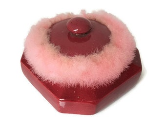 Vintage red ceramic powder box with pink puff