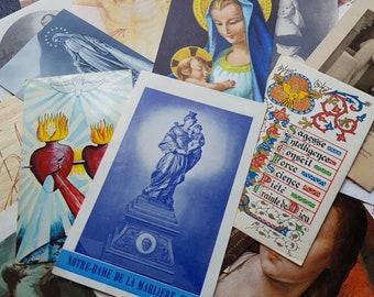 lot 25pcs vintage french catholic cards, holy cards, communion cards, religious cards, prayer cards, paper ephemera