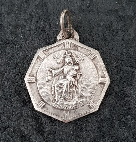 Our Lady of Mount Carmel by TRICARD Vintage French sterling silver religious charm medal pendant Sacred Heart of Jesus ref 2031