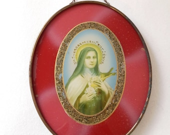 french vintage glass frame St Theresa of Lisieux, french souvenir