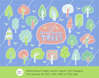 22 Hand Drawn Trees Downloadable Vector Clipart