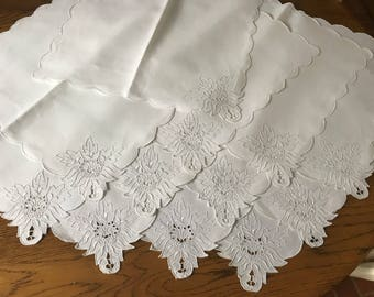 One Dozen Large White Floral Napkins~Set Of 12 Italian Vintage Table Linens~Embroidered  Linen Drawn Thread Reticella Insert~Hand Made~EUC
