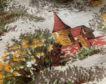 Vintage Bark Cloth~French Country Scene~Over Two Yards~Unused NOS~36 x 78 Inches~Pristine Barkcloth Fabric