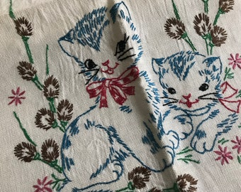 Embroidered Kitty Cats Dresser Scarf~Vintage Linen~Table Runner~Hand-Embroidered~Little Girl's Room~Shabby Cottage