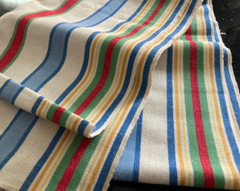 Vintage Kitchen Toweling Fabric~STRIPES~Green Blue Red Yellow~Raw Ends~1940's~Retro Linen~17.25 x 106