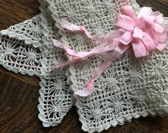 Vintage Crocheted Edge Lace~Ecru~Ivory w/Pink Ribbon & Bow~Wide~Edge Trim~Sewing Crafts Needle Arts~Antique Embellishment~Scallops~Lavish