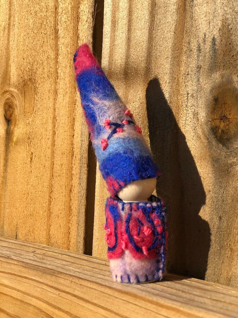Night Sunset gnome flower waldorf fairy montessori pretend play imaginative pocket peg doll miniature figure dollhouse purple pink leaf bud