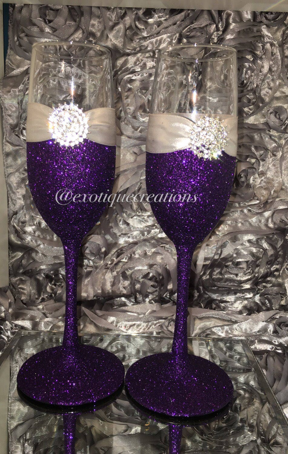 Purple And Silver Champagne Flutes Etsy