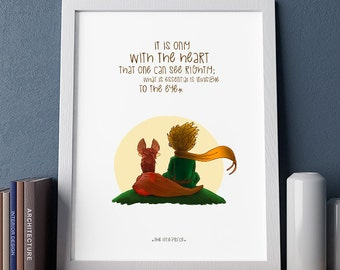 The Little Prince Poster, Illustrations, Typography, Wall Hanging Wall Art Decor, Home/Office Decor Poster, Gift Idea