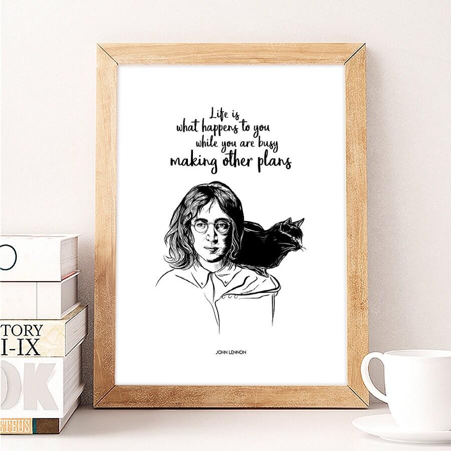 John Lennon And Cat Poster John Lennon Quotes Illustrations Etsy