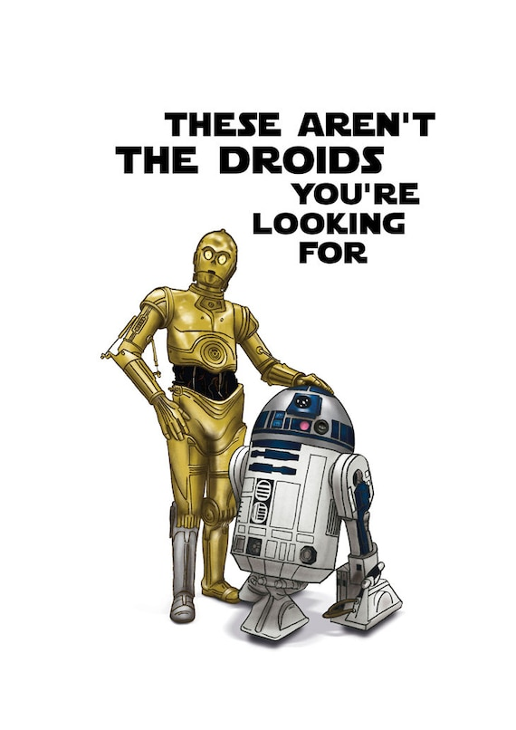 These Arent Droids Youre Looking For R2d2 C3po Etsy