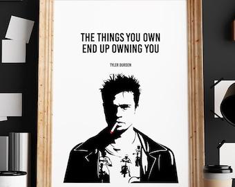 Tyler Durden Poster, Fight Club Poster, Vector Art Print, Illustrations, Typography, Gift Idea