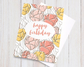 Floral Happy Birthday Card, Birthday Card for Her, Floral Card, Happy Birthday Flowers, Tulips, Pretty Blank Greeting Card